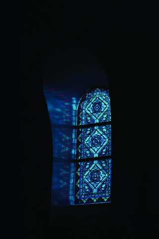 Stained glass blue