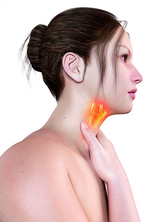 Woman-Touching-Thyroid-Gland