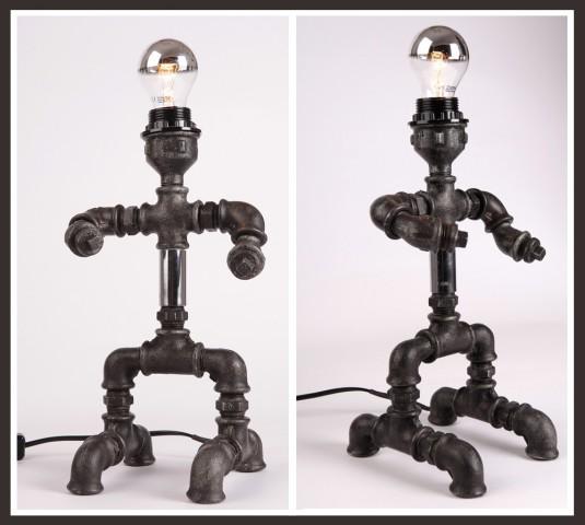 """Лампа """"Светльо"""", изработена от ВиК елементи. От Студио """"Щрак""""."""