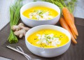 Крем супа от моркови и миди тартар