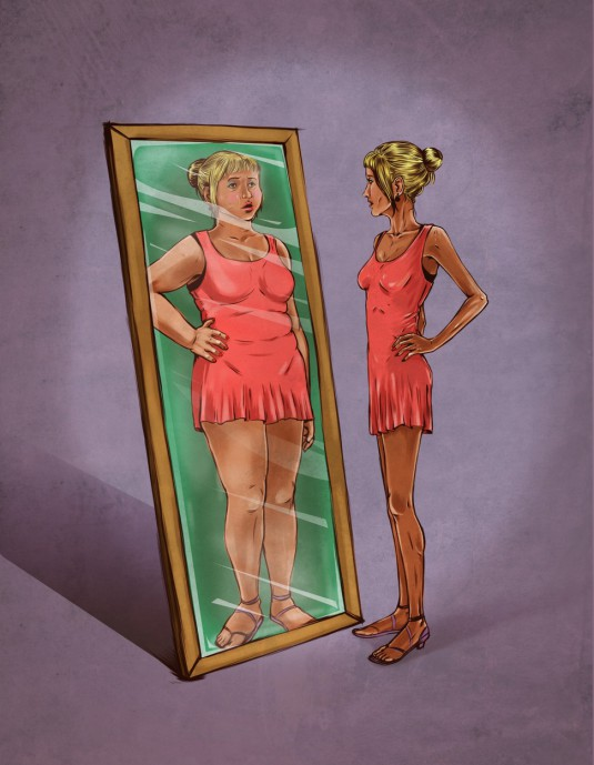 Illustrative image of woman looking in mirror sees herself as overweight representing eating disorde