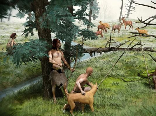 Neolithic hunting, artwork