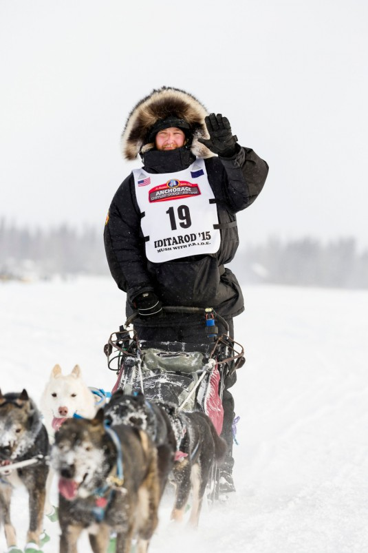Musher Justin Savidis competing in the 2015 Iditarod Trail Sled Dog Race on the Chena River after leaving the restart in Fairbanks in Interior Alaska.