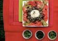 Салата с домати, чушки, гъби и сметана