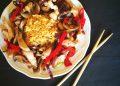 Пържено пиле с ориз и зеленчуци