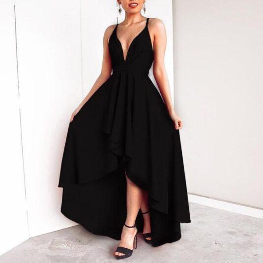 дамска секси макси рокля с V-образно деколте