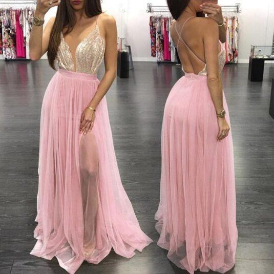 дамска секси дълга рокля от шифон с дълбоко V-деколте