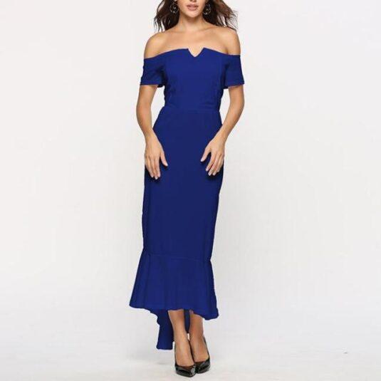 елегантна едноцветна дамска дълга рокля с паднало рамо