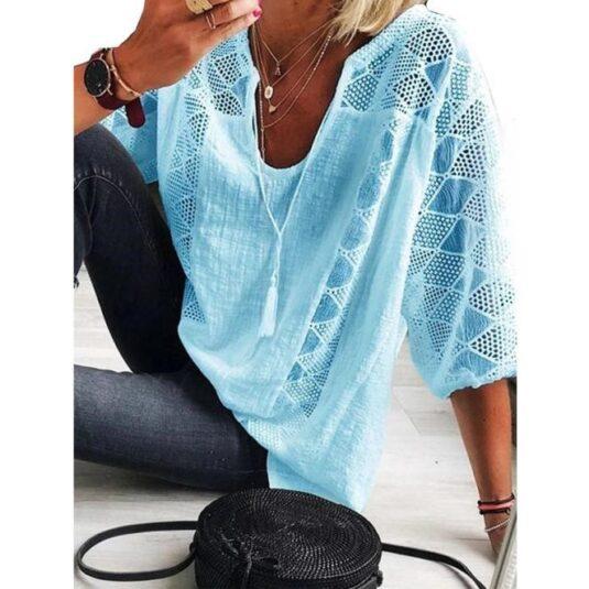 Дамска дантелена блуза във винтидж стил