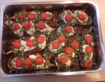 Патладжани с кайма, моцарела и чери домати на фурна от Райчо Ангелов
