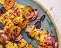 Пилешки шишчета със смокини и балсамова редукция с порт