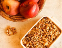 Печени овесени ядки с ябълки и орехи